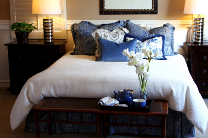 Bedroom with Blue Pillows