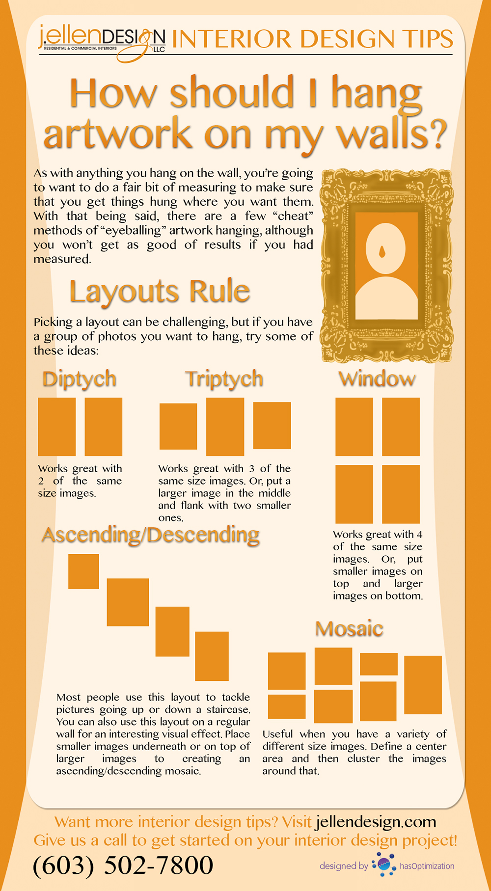How should I hang artwork on my wall infographic