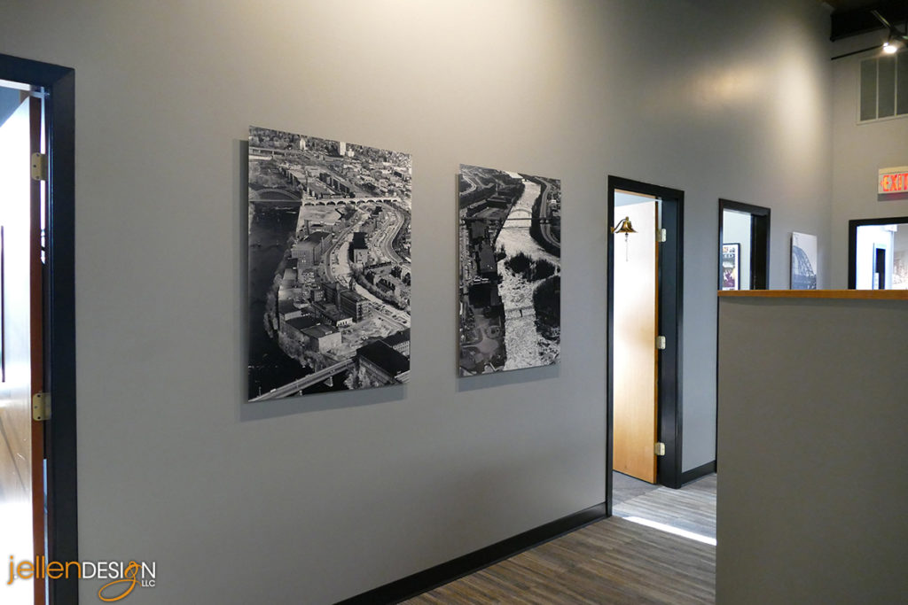 Manchester Radio Group wall photos and decor by j. ellen Design, LLC