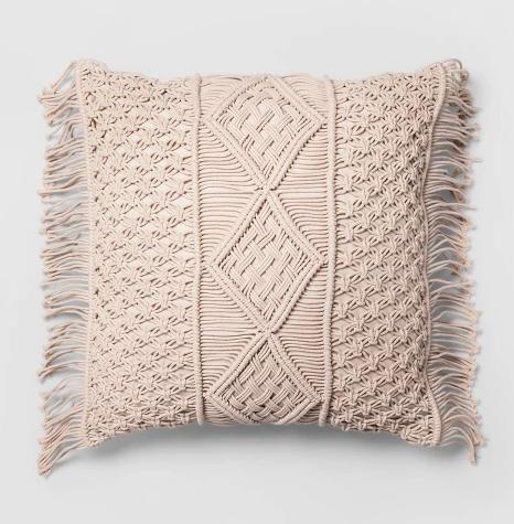 Macrame Fringe Pillow