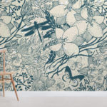 Blue Insect Pattern Design Wallpaper by MuralsWallpaper.com