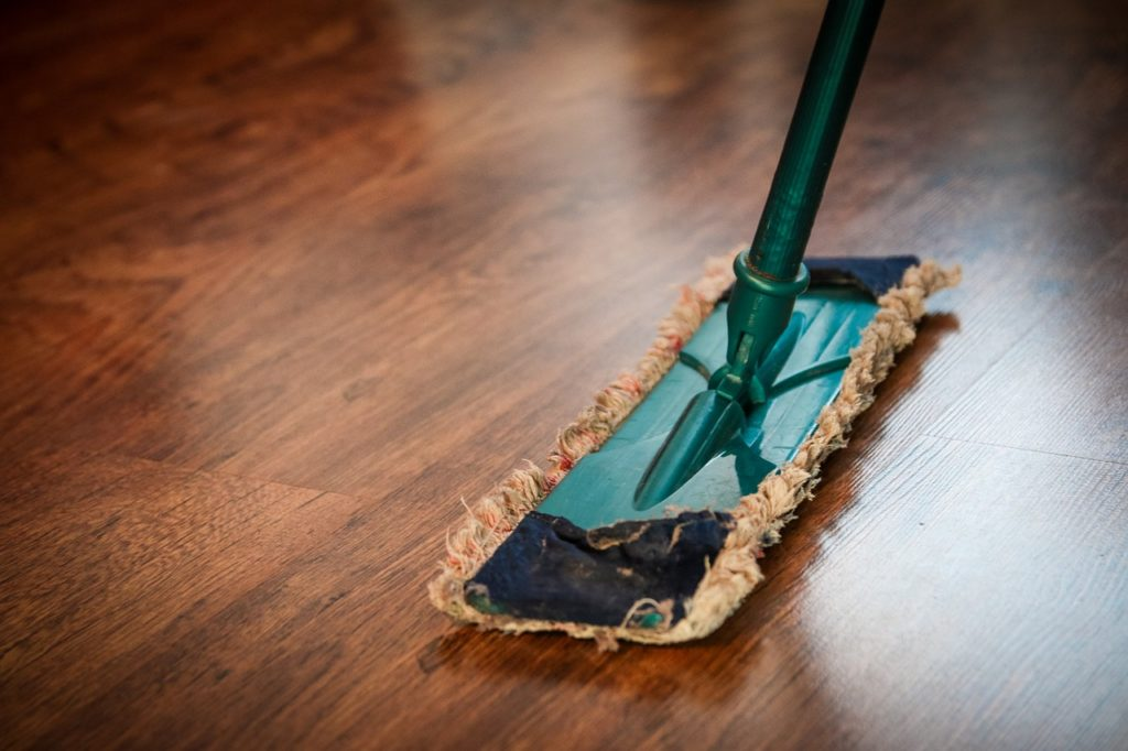 Mop on a hardwood floor