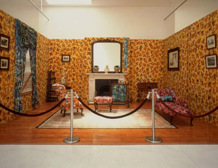 Philanthropist's Parlor display at a museum with bold and rich textures and patterns